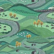 Lewis & Irene - Littondale - 6515 - Dales Scene in Green & Teal - A355.3 - Cotton Fabric